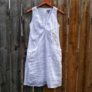 J. Jill White Linen Pocket Dress 0P